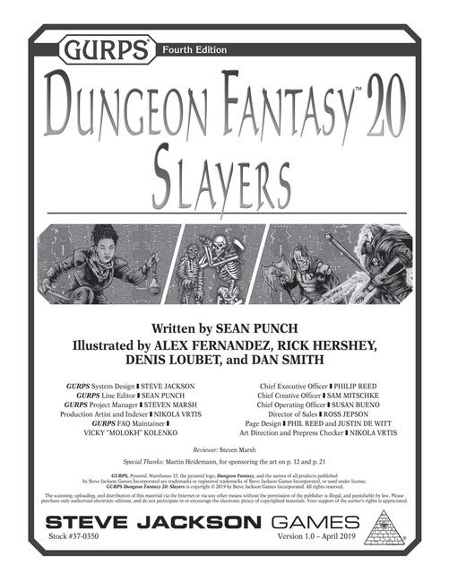 GURPS Dungeon Fantasy 20: Slayers